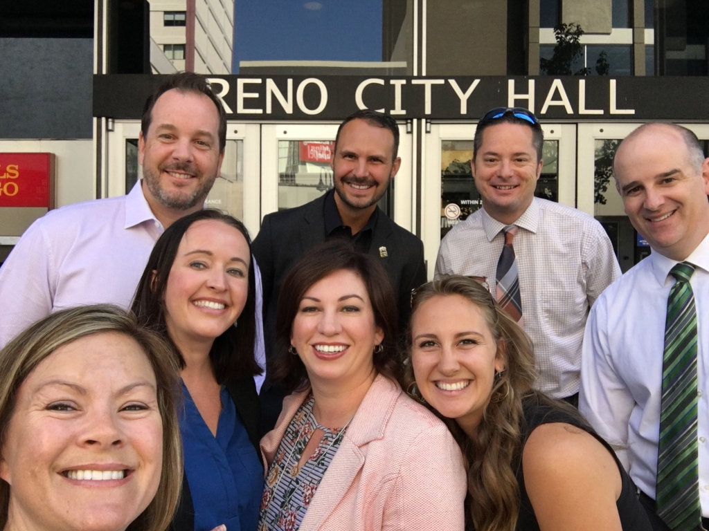 featured image Sabra newby with Colleagues in front of Reno City Hall