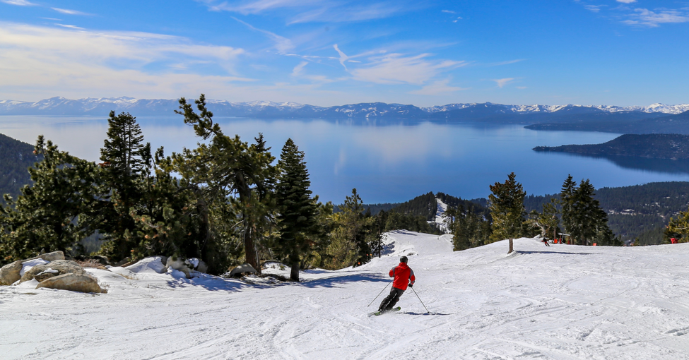 featured image Downhill skiing above Lake Tahoe