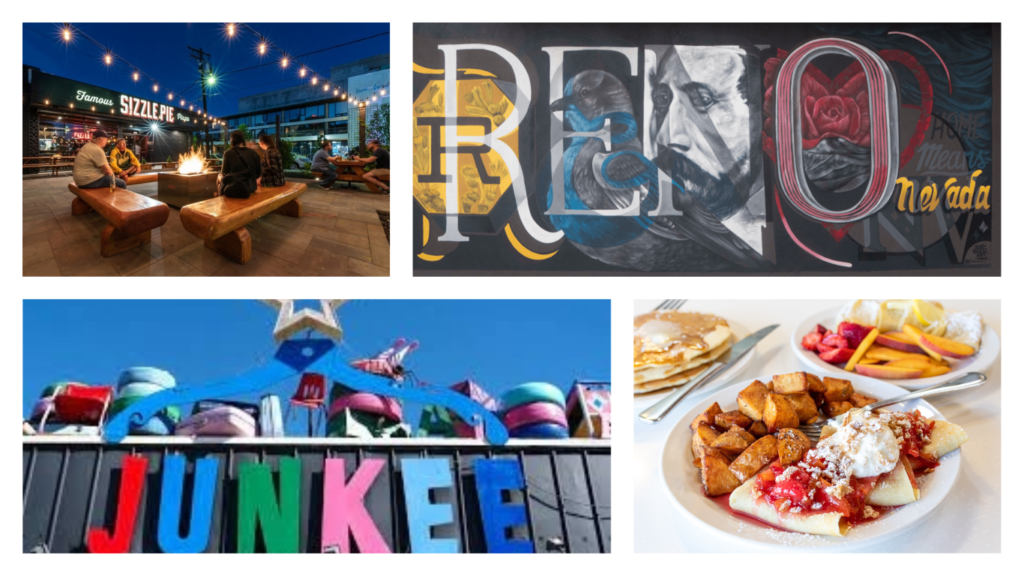 featured image showing a collage of activities and food pairings in Reno, Nevada