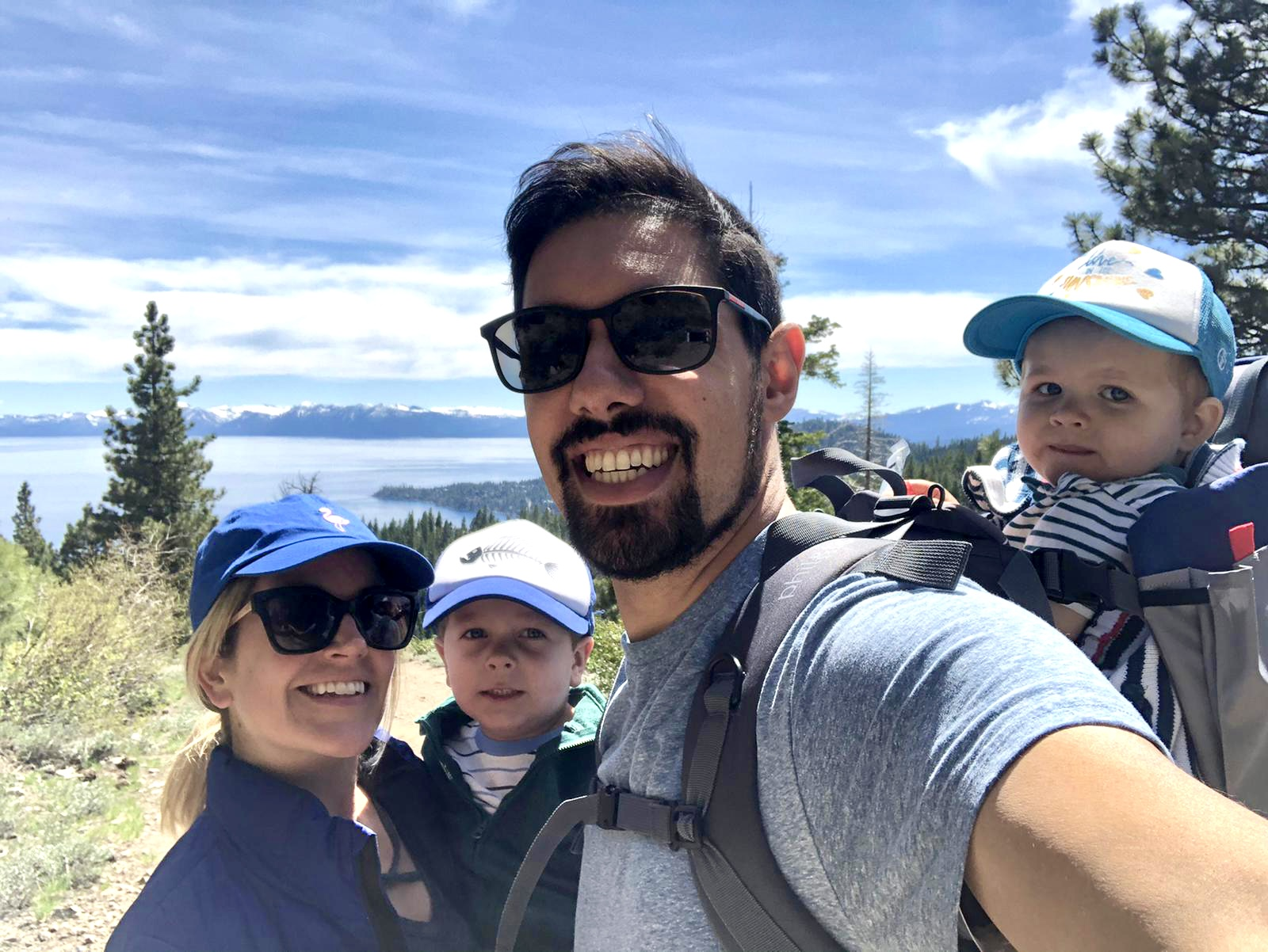 Featured image showing Karim Mekhid, his wife and two children in front of Lake Tahoe