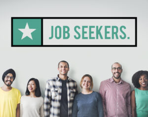 Featured image showing several diverse individuals standing against a white wall with the text Job Seekers above them.