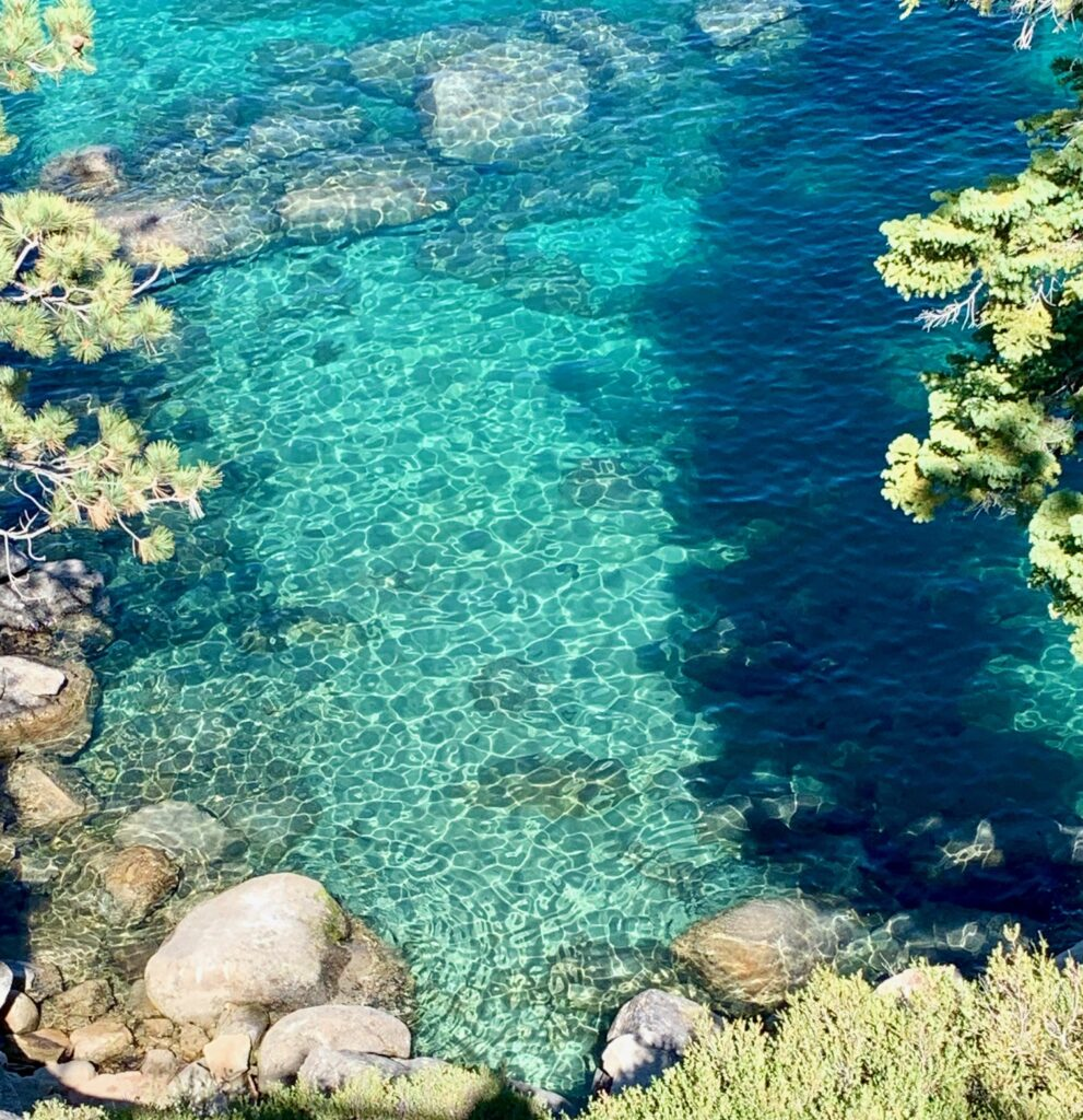 inline image showing the clear waters one can view from the Tahoe East Shore Trail